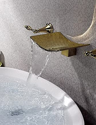 XY&XH Bathroom Sink Faucet ,Bathroom Sink Faucets Country Waterfall Brass Ti-PVD