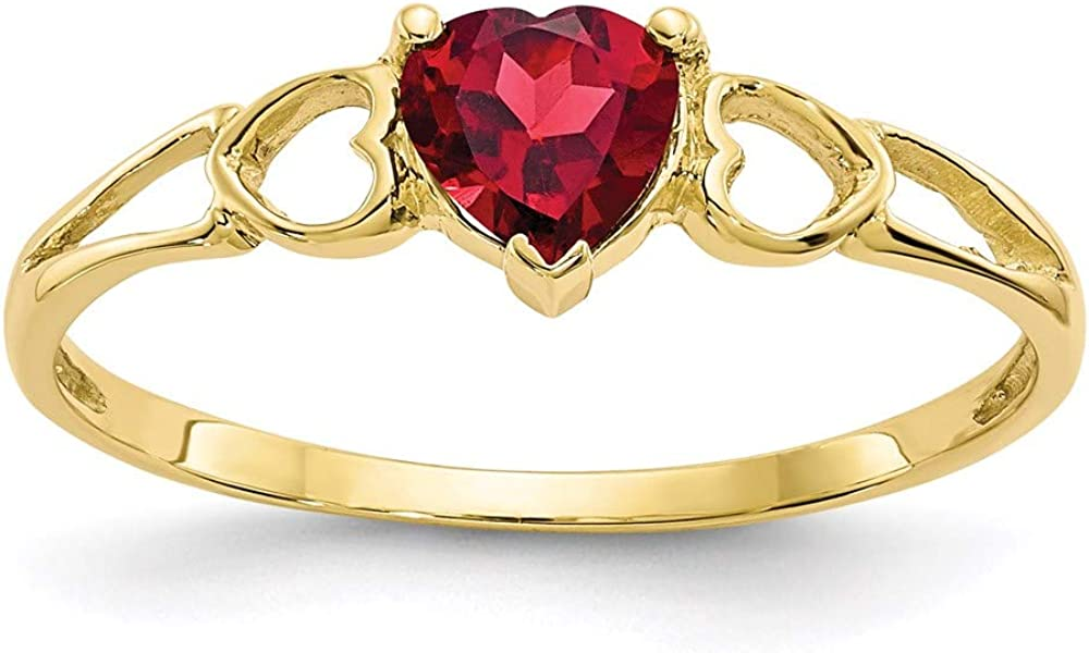 10k Yellow Gold Red Garnet Birthstone Band Ring Size 7.00 Stone January Fine Jewelry For Women Gifts For Her