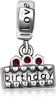JMQJewelry Heart Charm Birthday Cake I Love You Charms Candle Dangle Beads Bracelets Christmas
