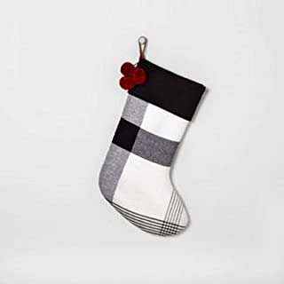 Holiday Stockig Black & White Plaid with Red Poms - Hearth & Hand with Magnolia 364597121143