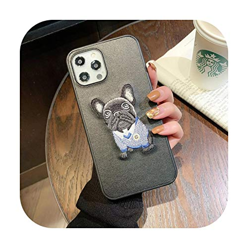 Luxury Embroidery French Bulldog Hard Leather Phone case for Apple iPhone 7 8 Plus 11 Pro X XS XR MAX 12 Mini SE Lovely Cover-B-for iPhone 12ProMax