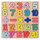 Juego de juguetes de clasificación de rompecabezas de número de madera, tablero de PEG Número de pieza con impresión de personajes divertidos - Bloques de aprendizaje para niños y juguetes matemáticos