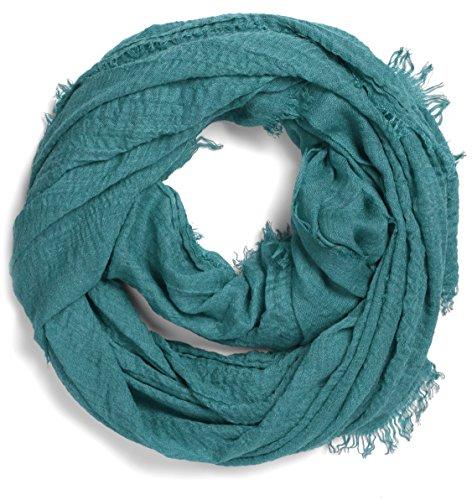 NavyBlu® Schal Tuch Vierecktuch unifarben in crinkle Design grün A11
