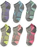 PUMA Big Girls' 6 Pack Low Cut Socks, Grey/Pink, 9-11