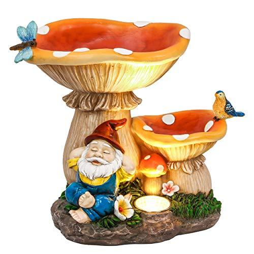 TERESA'S COLLECTIONS Figura da Giardino Funghi Gnomo da Giardino Casa delle Fate 20 cm Decorazione...
