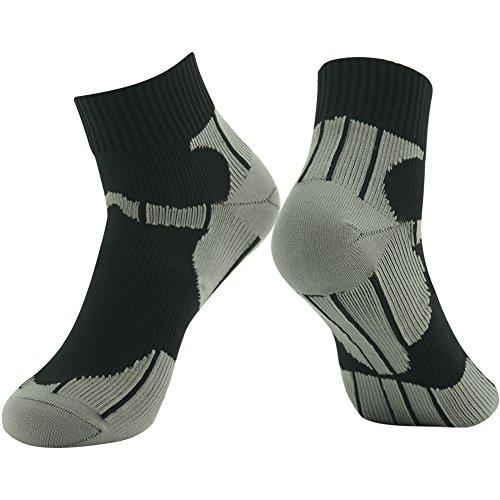 RANDY SUN Ankle Socks, Waterproof Breathable Socks, [SGS Certified] Unisex Comfortable Thick Waterproof Fishing Socks Black & Gray Small