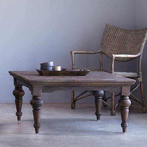 Pharao24 Massivholz Couchtisch im Landhausstil Teak gebeizt Breite 100 cm Tiefe 100 cm quadratische Tischform