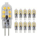JingKeLai G4 LED Light Bulbs G4 Bi-Pin Base 1.5W (20W Halogen Bulb Equivalent) 12V Warm White 3000K LED Bulbs for Landscape Ceiling Under Counter Puck Lighting,Pack of 10,Clear Cover