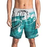 CAMLAKEE Calzoncini da Bagno Uomo Stampanti 3D Costume Bermuda da Spiaggia Pantaloncini da Mare Verde XXL