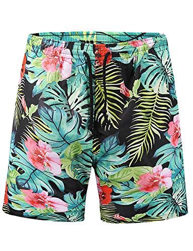 PIZOFF Herren Badehose Sommer Badeshorts Hawaii Blumen und Kräuter 3D Print Grafik Strand Surf Board Shorts Freizeithose Beachshorts Schwimmhose
