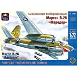B26 Marauder Model Airplane Kit 1/72 Scale - Bomber Martin B-26 American WWII Aircraft - Russian Military Model Kits with Assembly Instructions in Russian Language