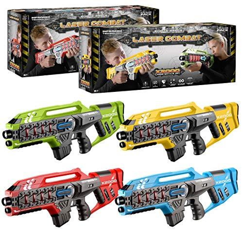 ToyStar Laser Tag Combat X-1000, Multiplayer Infrared Gun Battle Game, Bumper 4 Rifle Battle Set, Epic 60m Shooting Range