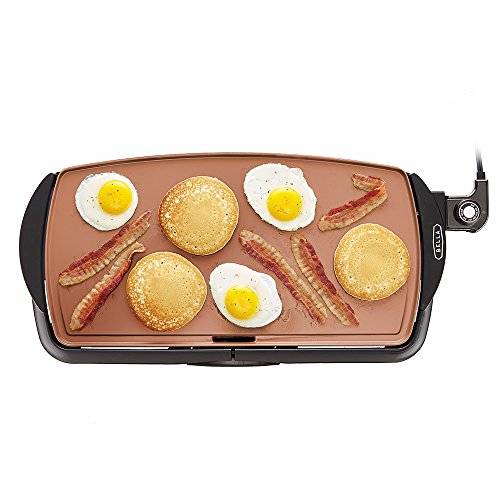 "BELLA Electric Ceramic Titanium Griddle, Make 10 Eggs At Once, Healthy-Eco Non-stick Coating, Hassle-Free Clean Up, Large Submersible Cooking Surface, 10.5"" x 20"", Copper/Black"