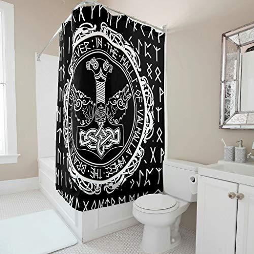 Firelife Wikinger Odin Runen Duschvorhang Anti-Schimmel Wasserdicht Waschbar Polyester Hammer Drache Shower Curtains mit Haken