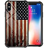iPhone XR Case,Red Wood American Flag iPhone XR Case for Men Boy, Tempered Glass Back Pattern with Soft TPU Bumper Case for Apple iPhone XR Cases 6.1-inch Red Wood USA Flag