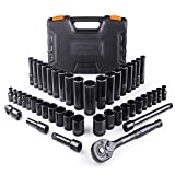 TACKLIFE 3/8'' Drive Socket Set, 46 Pieces Socket Set with 72 Teeth Reversible Ratchet, Metric and SAE - SWS2A