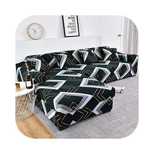Friendshiy - Funda de sofá de esquina extensible, funda de sofá para salón elástica, toalla en forma de L, para tumbona, 2 piezas, color 14 – 2 seater y 4 seater