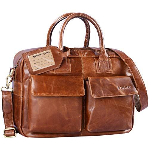 STILORD 'Carlo' Aktentasche Leder Damen Herren Groß Umhängetasche Lehrertasche Schultertasche Beruf Business 15,6 Zoll Laptop Arbeit Büro