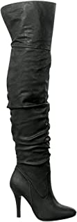 Forever Link Womens Focus-33 Vegan Leather Over The Knee Fashion Boots