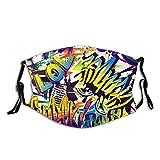 Protector bucal abstracto, sin costuras, cómics, diseño urbano, con graffiti y pasamontañas, para decoración facial, con 2 filtros