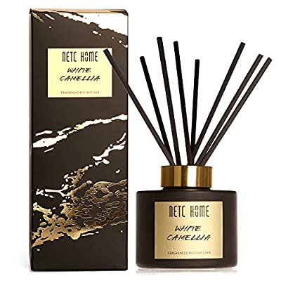 NETC HOME Fragrance Reed Diffuser, White Camellia Essential Oil Set with Rattan Reeds, 135 ml, 4.6 fl oz, 1NH0103