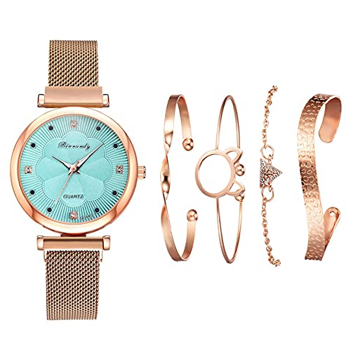qwert Reloj de Cuarzo para Mujer Reloj analógico para Mujer con Correa de cerámica Reloj de Moda para Mujer Reloj de Pulsera para Mujer,Sky Blue