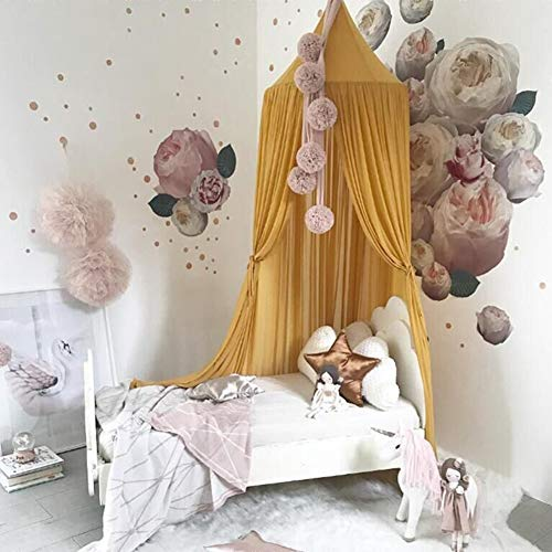 TSEXIEFOOFU Kid Baby Cotton Bed Canopy Bedcover Mosquito Net Curtain Bedding Round Dome Indoor Outdoor Castle Play Tent (Yellow)
