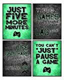 Video Game Themed Art Print Room Wall Decoration (Set or Four) Gamer (Green)