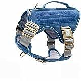 Auroth Tactical Dog Harness for Large Medium Small Dogs, Hidden Backpack,Nesting Buckles Reflective Adjustable Military Dog Harness Soft Service Dog Vest Light Blue M