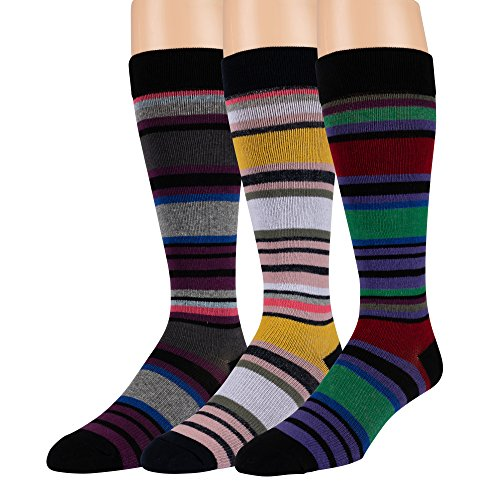 Compression Socks for Men and Women - 3 Pack - Graduated Support For Travel, Fitness and Pregnancy (Colored Stripes)