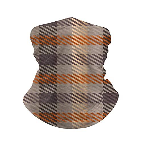 Pañuelo asimétrico a cuadros en crema de chocolate y naranja cuello polaina máscara facial bandana calentador de cuello frío a prueba de viento ligero bufanda de seda de hielo para hombres y mujeres