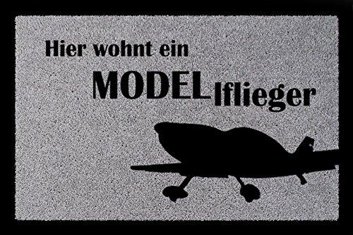 Interluxe FUSSMATTE Schmutzmatte Hier WOHNT EIN Modellflieger Hobby RC-Pilot Viele Farben Hellgrau
