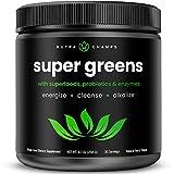 Super Greens Powder Premium Superfood - 20+ Organic Green Veggie Whole Foods - Wheat Grass, Spirulina, Chlorella & More - Antioxidant, Digestive Enzyme & Probiotic Blends   Vegan Juice Supplement