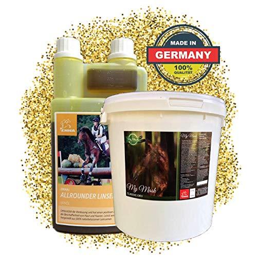EMMA® lijnzaadolie voor paarden & honden I SPARSET I plus bijvoedering Mash dry I Omega 3-6 vetzuur in olie I koudgeperste I vitamines A, D & E I 1 L + 2 Kg