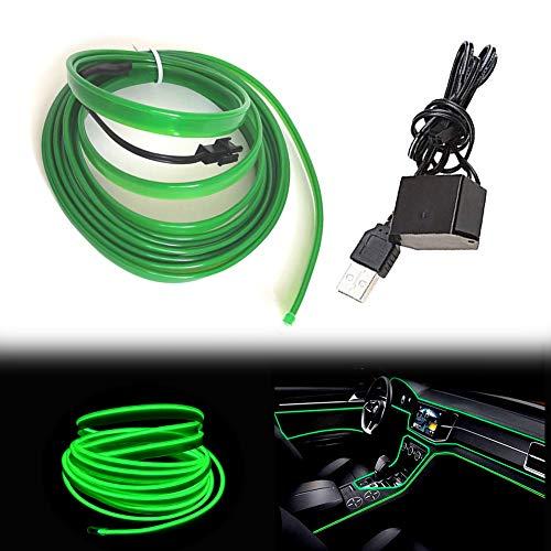 Balabaxer USB EL Wire Grün,5M/16.4FT Flexible Neonlichtröhre DC 5V Neonröhre Lichter Auto Innenverkleidung Lichtleiste für Innenverkleidung Gap Dekorative……