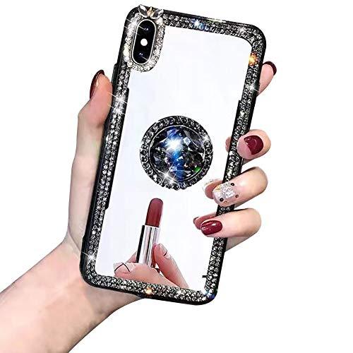 ShinyZone Cover per Huawei Mate 20 PRO,3D Bling Lucido Cristallo Diamante Strass Ragazze Specchio Custodia Morbida Silicone con Anello Ring Supporto per Huawei Mate 20 PRO,Nero