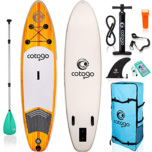 rolimate Inflatable Stand Up Paddle Board, with All SUP Accessories 6 Inches Thickness Wide Stance Bottom Fin for Paddling (Brown)
