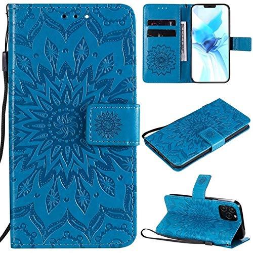 JDDRCASE Girasol diseño de la impresión de la PU del tirón del Cuero Monedero Caja Protectora de Cuello for iPhone 12 Pro (6,1 Pulgadas) (Color : Azul)