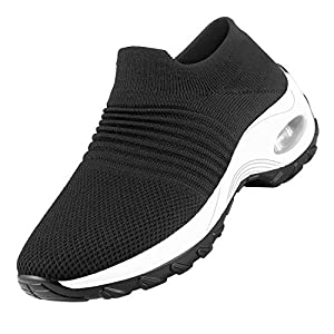 No/Brand Women's Walking Shoes Slip on Sock Sneakers, Breathe Mesh Casual Running Jogging Nursing Work Shoes Lady Girls Modern Comfort Wedge Air Cushion Platform Easy Shoes