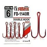 FANATIK Ganchos de Pesca Dobles Double FD-1140 tamaño 8, 7, 6, 4, 2, 1, 1/0, 2/0, 3/0 Offset Jig Hook Soft Baits Lures Anzuelos de Pesca para Señuelo de plástico (Rojo, 42mm - #2/0-3pcs)