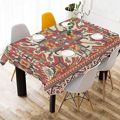 Yushg Persischen Stil Ethnische Benutzerdefinierte Baumwolle Leinen Gedruckt Platz Fleck Beständig Tischwäsche Tuch Abdeckung Tischdecke Für Küche Haus Esszimmer Tischplatte Decor 60x84 Zoll