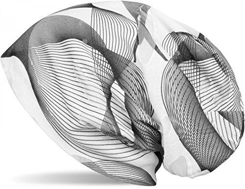 styleBREAKER Beanie Mütze mit asymetrischem Guilloche Muster im Destroyed Vintage Look, Unisex 04024073, Farbe:Schwarz-Weiß