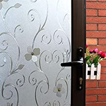 Mikomer 3D Flower Privacy Window Film,Frosted Decorative Glass Door Film,No Adhesive Stained Glass Window Decor,Static Cling Heat Control Anti UV for Home and Office,35 inches by 118 inches