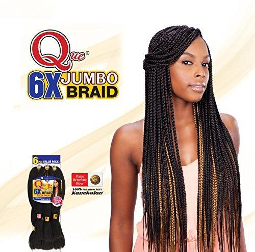 QUE KING JUMBO BRAID 6X (1B Off Black) - Freetress Synthetic Bulk Mega Box Braiding Hair