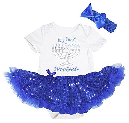 Petitebella My First Hanukkah White Bodysuit Blue Sequin Tutu Baby Dress Nb-18m (6-12 Months)