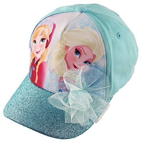 Disney Frozen Elsa and Anna Cotton Baseball Cap with Glitter Pom, Little Girls, Blue, Age 4-7
