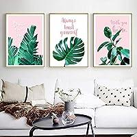 緑の植物の壁の装飾の絵画の手紙ピンクのキャンバスのプリントポスター、寝室の装飾のための壁の芸術の写真50x70cmx3フレームなし