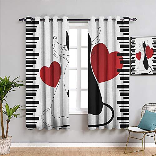 Pcglvie Cortinas opacas para ventanas, 160 cm de largo, gatitos románticos, mascotas, parejas, dos colas, corazones y rayas negras, San Valentín, uso repetible, blanco, negro, rojo, 42 x 63 pulgadas