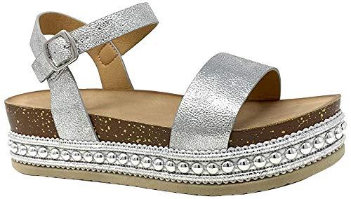 Angkorly - Damen Schuhe Sandalen - Folk/Ethnisch - Bequeme - Flache - Nieten-Besetzt - String Tanga - Kork Keilabsatz high Heel 5 cm - Silber 2 1039 T 41