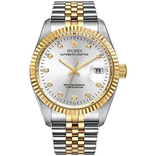 BUREI Herren Uhren Automatische Armbanduhr Kratzfestes Synthetisches Saphirglas mit Datumsanzeige und zweifarbiges Edelstahlarmband